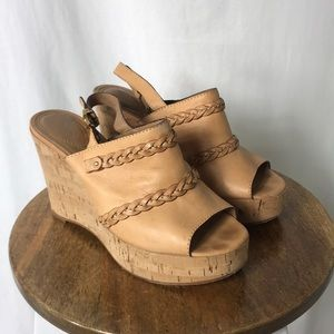 Chloe tan leather wedge sandals size 39